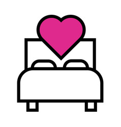 Happy valentines day heart in bed line style vector