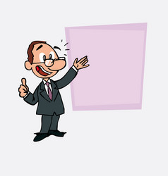 Happy white businessman with glasses makes the vector