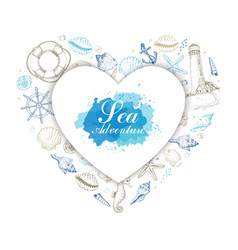 heart from summer marine elements vector image