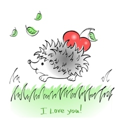 Hedgehog with heart drawing vector image