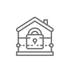 house with lock home security insurance line vector image