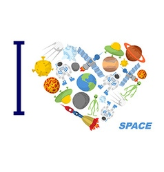 I love space Heart symbol of cosmic elements vector image