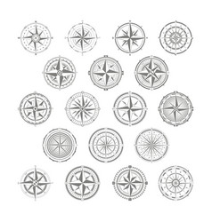 Icon set with compass rose for your design vector