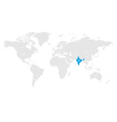 India marked by blue in grey world political map vector