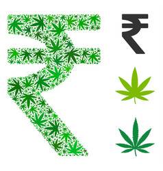 Indian rupee collage of cannabis vector