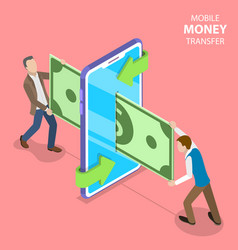 isometric flat concept mobile money vector image