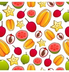 Juicy bright tropical exotic fruits pattern vector image