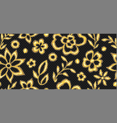 Lace seamless pattern with gold flowers vector