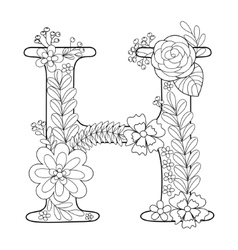 Letter H coloring book for adults vector image