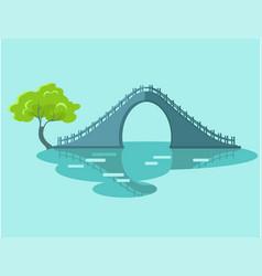 lunar bridge with green tree in taiwan flat icon vector image
