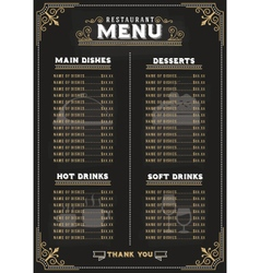 Luxury food menu on chalkboard background vector