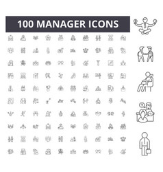 manager line icons signs set outline vector image