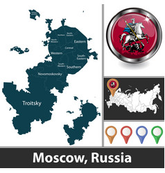 Map moscow russia vector