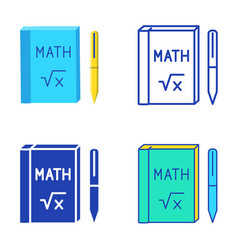 math book icon set in flat and line style vector image