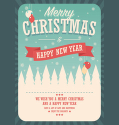 merry christmas card on winter background poster vector image