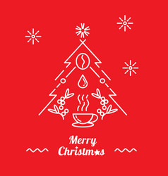 Merry christmas with a cup of hot coffee vector