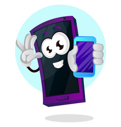 mobile emoji holding a smartphone on white vector image