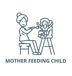 mother feeding child line icon linear vector image