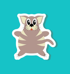 Paper sticker on stylish background toy cat vector