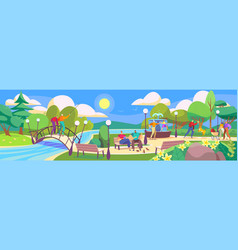 People in park leisure with family in nature vector