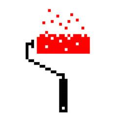Pixel paint roller brush art cartoon retro vector