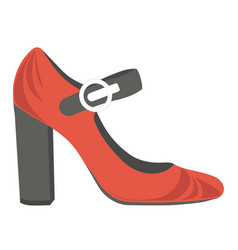 red female shoes with thick heel and black strap vector image