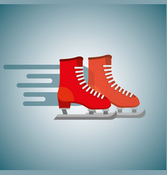 Red pair ice skate blurred color background vector