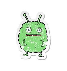 Retro distressed sticker of a cartoon funny alien vector