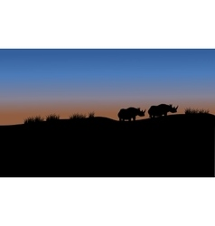 Rhino in fields scenery silhouette vector image