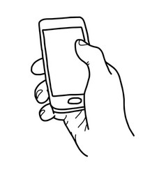 right hand holding small mobile phone vector image