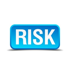 Risk blue 3d realistic square isolated button vector