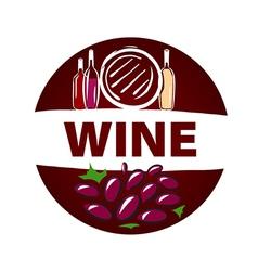 round logo barrel and bottle wine vector image