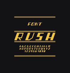 Rush font alphabet vector