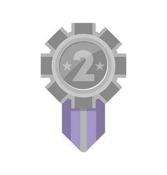 second place silver award medal icon vector image