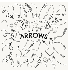 Set of Black Hand Drawn Arrow Shaped vector
