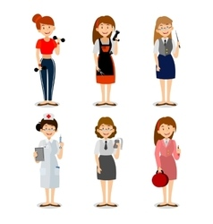 Set of colorful profession woman flat style icons vector