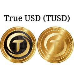 Set of physical golden coin true usd tusd vector