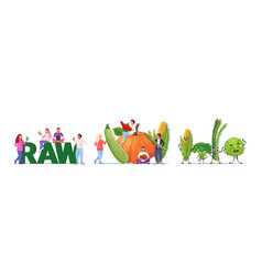 Set people holding different vegetables and fruits vector
