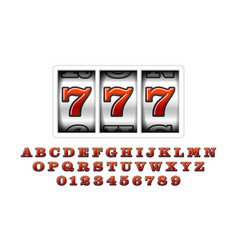 Slot machine with lucky seventh jackpot 777 slot vector