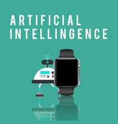 Smart watch and artificial intelligence vector