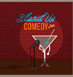 Stand up comedy open mic martini vector