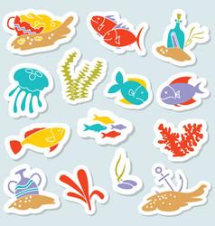 Sticker set with underwater hidden treasures vector