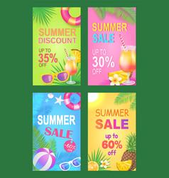 Summer discount reduction set vector