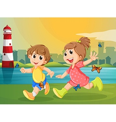 Two adorable kids running with butterflies vector