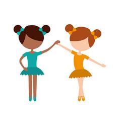 Two ballet girl dance standing in pose vector