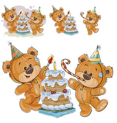 Two brown teddy bears in vector