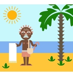 Vacation of retired man on the beach under the sun vector