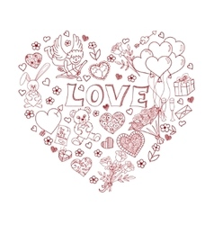 Valentines day doodles in heart shape vector