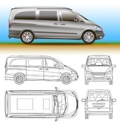 Van template commercial vehicle Blueprint vector
