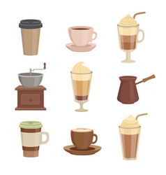 various sorts coffee cups in cartoon style vector image